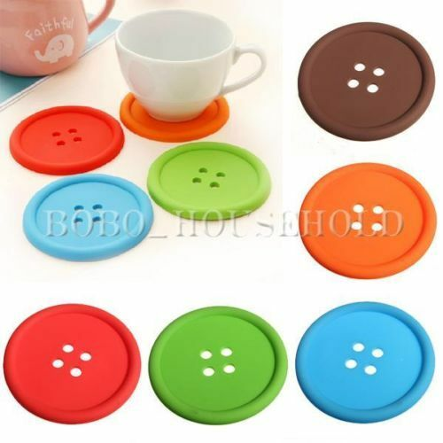 1/5Pcs Novelty Silicone Button Coasters Tea Cup Cushion Drinks Placemat Holder