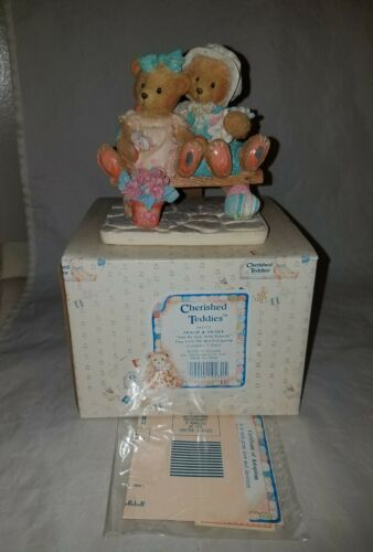 NEW NIB NOS 1992 CHERISHED TEDDIES TRACIE /& NICOLE 911372 SIDE BY SIDE FIGURINE