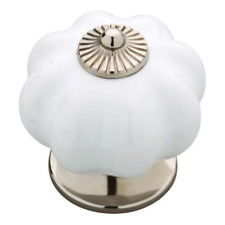 "085-03-3786  1 3//8/"" White Ceramic w// Satin Nickel Round Cabinet Drawer Knob"