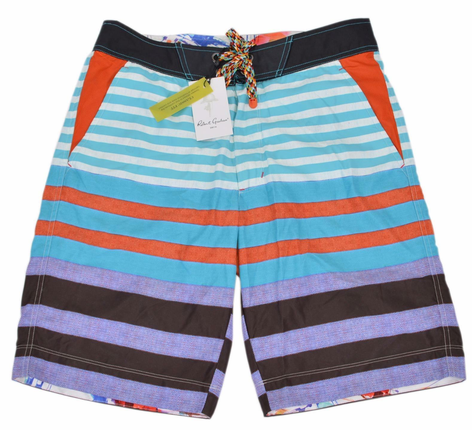 NEW Robert Graham Classic Fit INMAN LINE Board Shorts Swim Trunks