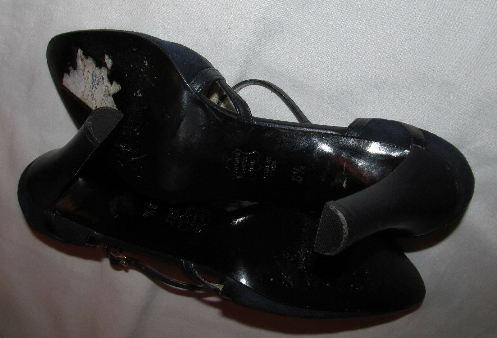 CHARLES JOURDAN dark navyl bluee suede X X X strap heel shoes 6.5 m worn once 37c5a1