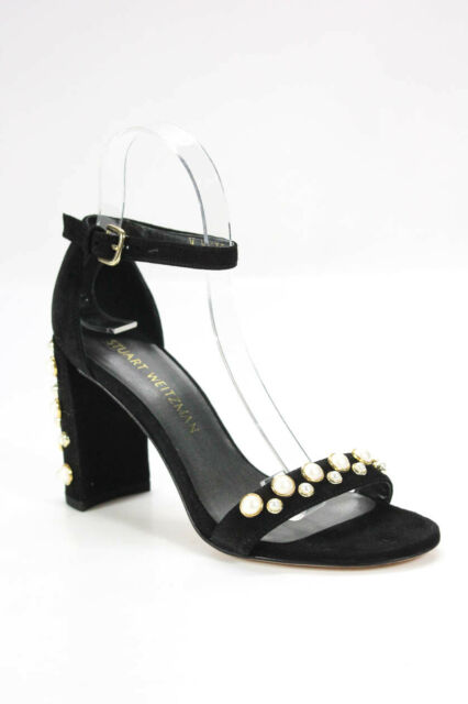Stuart Weitzman Womens More Pearls Ankle Strap Heel Sandals Black Size 6M