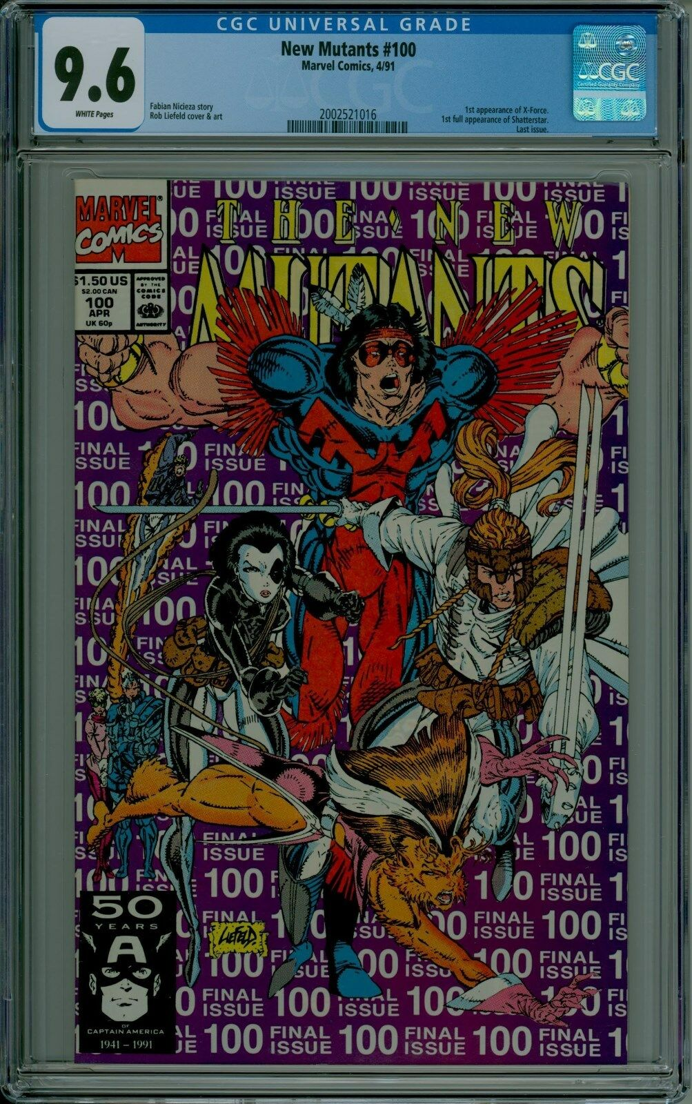 The New Mutants #100 CGC 9 6 NM+ white pages SHATTERSTAR X-FORCE 2002521016