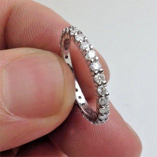 1.02ct NATURAL DIAMOND 14K WHITE gold WEDDING ENGAGEMENT RING