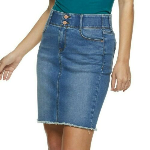 Apt 9 Womens Skirt Tummy Control Denim Stretch Blue Jean Mid Rise Size 6