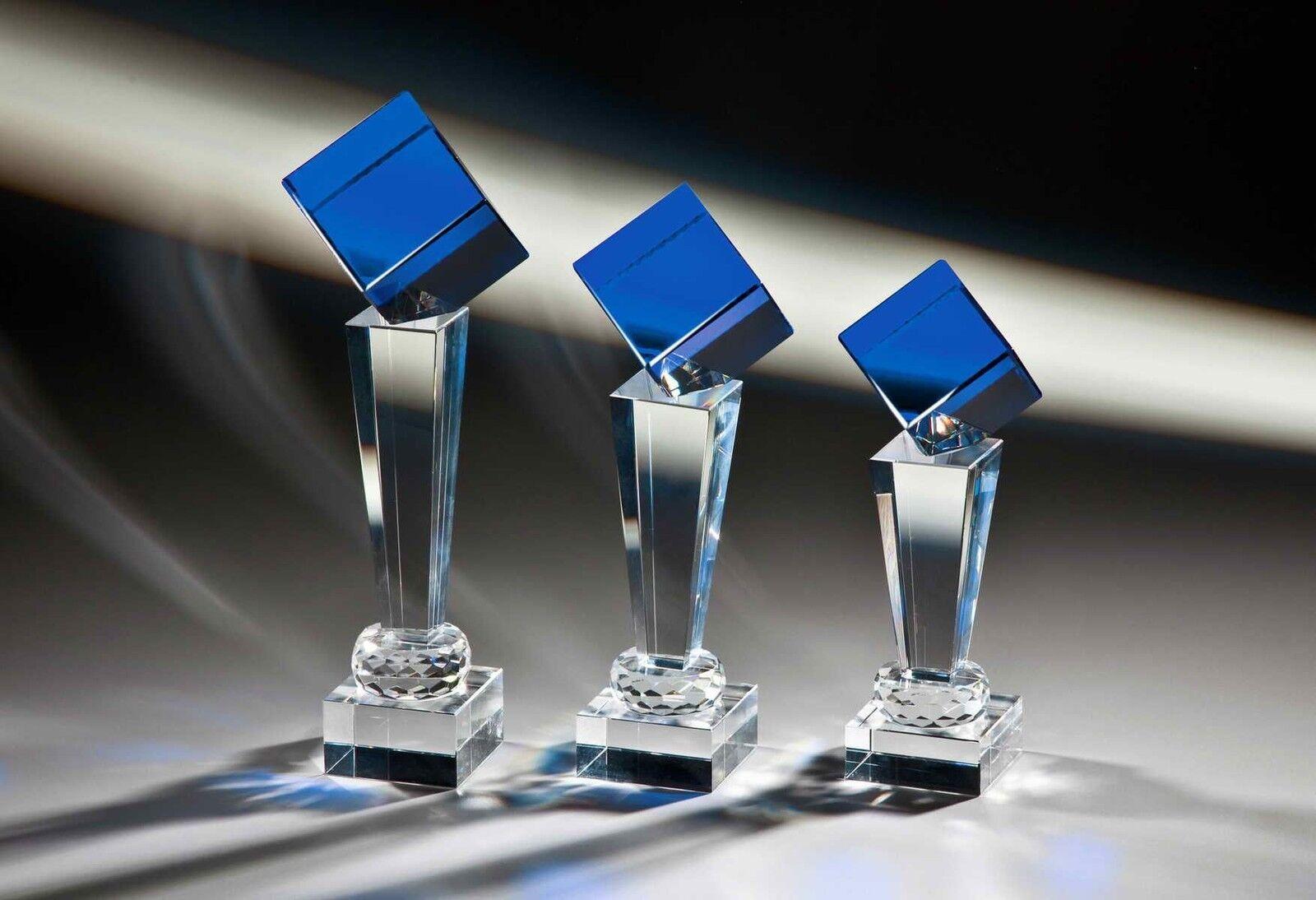 1 Noblesseglas Glaspokal Blau 24cm  129(Wander-Pokal Jubiläum Turnier Pokal)