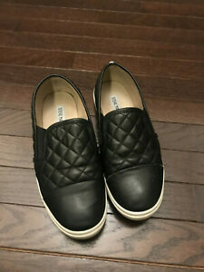 70246756b5e Image is loading STEVE-MADDEN-Black-Quilted-Zaander-Slip-On-Sneaker-
