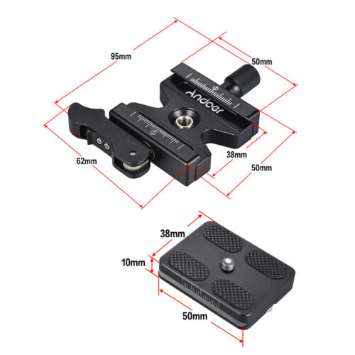 """QR Plate W// 1//4/"""" /& 3//8/"""" For Arca Swiss K2W5 Andoer Alloy Quick Release Clamp"""
