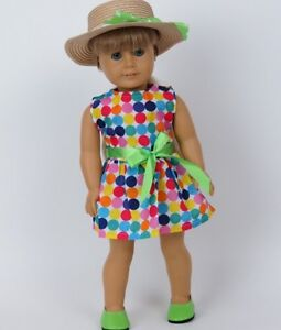 Summer-Polka-Dot-Dress-amp-Hat-fits-American-Girl-18-034-doll-clothes