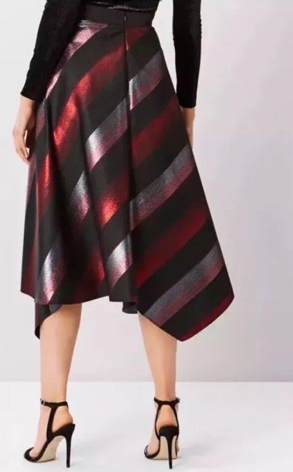 BNWTCoastSize 6 Multi Laureice Metallic Stripe Midi Asymetric Skirt New XS