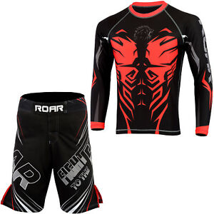ROAR-MMA-Grappling-Jiu-Jitsu-Wear-MMA-Rash-Guards-BJJ-Leggings-No-Gi-Shorts-Set
