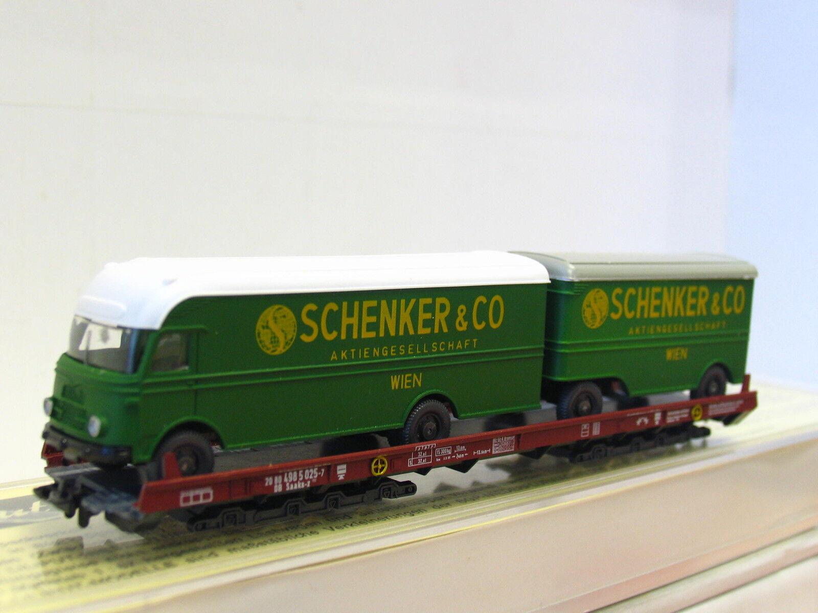 Liliput H0 200 L Niederflurwagen mit Schenker Hängerzug beladen DB OVP (Q8374)