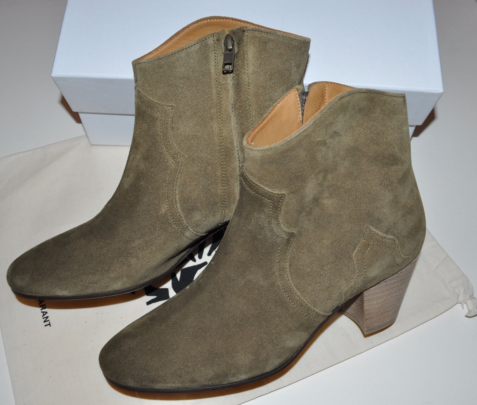 Isabel Marant Dicker Boots in Light Brown Suede Leather Size FR 40