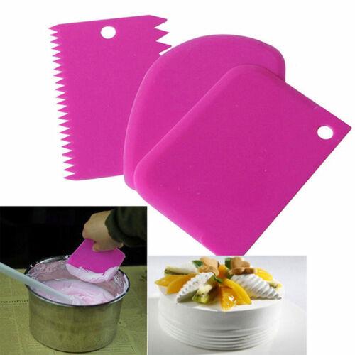 3Pcs Plastic Dough Icing Fondant Scraper Cake Decorating Baking Pastry Tools New