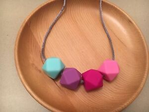 Silicone Sensory (was teething) Necklace for Mum Jewellery Beads Aus Pink Gift