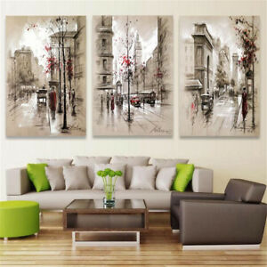 3pcs Modern City Canvas Print Painting Wall Hanging Art Pictures