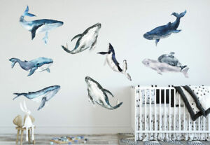 Large Marine Whale Wall Decal Nursery Sticker Boys Room Decor Art Mural Gift DIY