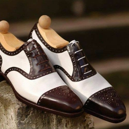 MENS HANDMADE BROWN CAP TOE BROGUE SHOES BROWN WHITE LEATHER FORMAL SHOES