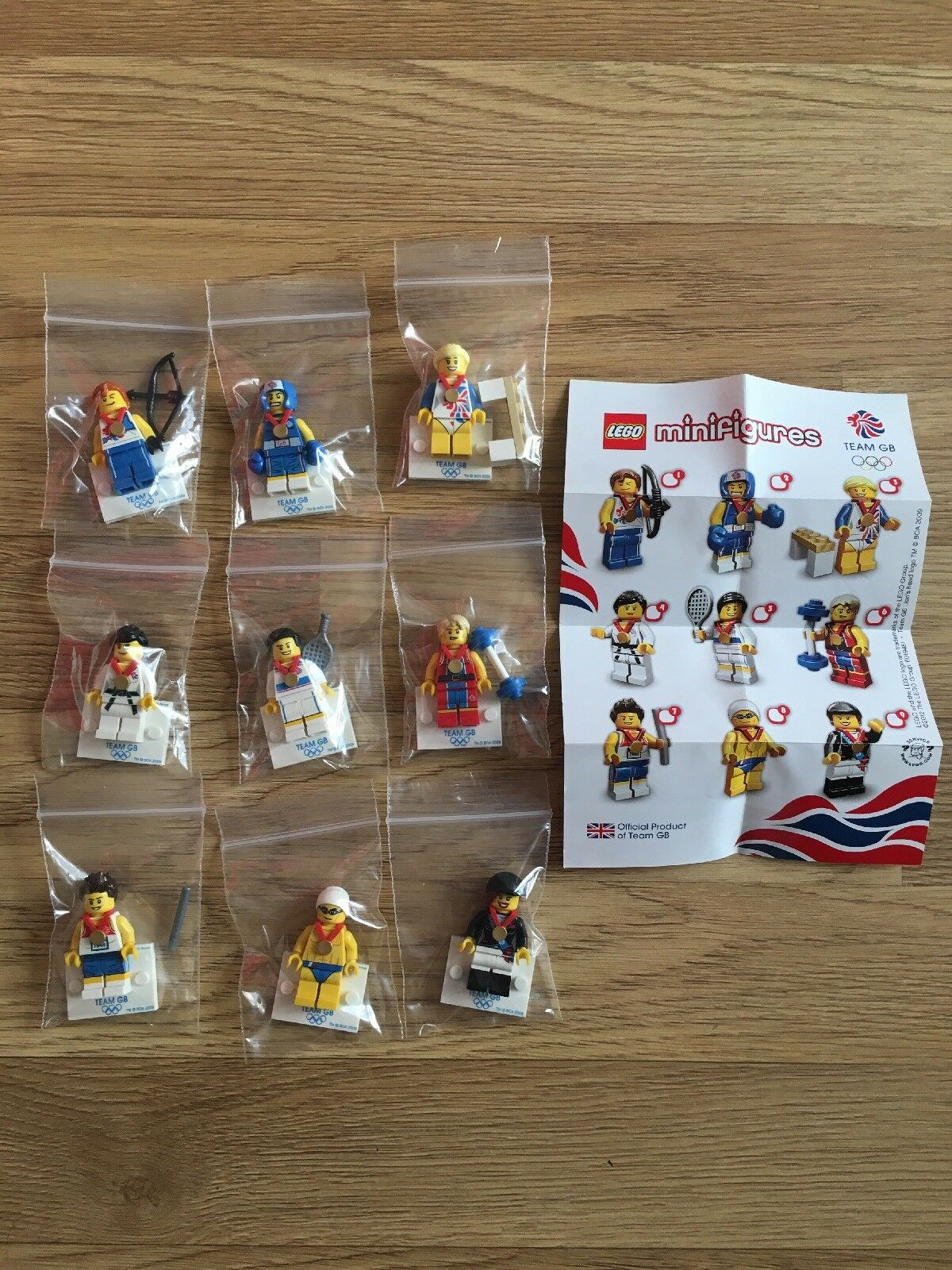Lego Minifigs Full Complete Set Team GB Olympic From 2012 Immaculate Condition