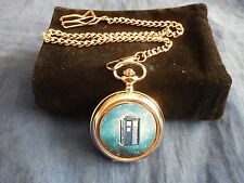 THE TARDIS FROM DOCTOR WHO CHROME POCKET WATCH WITH CHAIN (NEW)