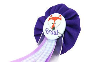 Orden-Braut-JGA-lila-Fuchs-Deko-Accessoire-Anstecker-Button-Hochzeit-Bride-to-be
