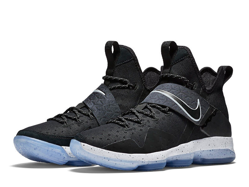 NIKE LEBRON XIV 852405-002 Black White Ice Men's Sneakers BLACK ICE CHASE DOWN Cheap women's shoes women's shoes