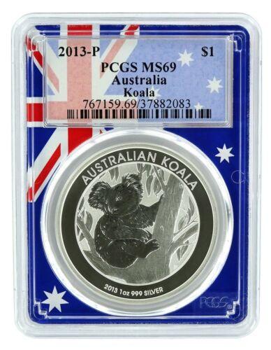 2013 P Australia 1oz Silver Koala PCGS MS69 Flag Frame
