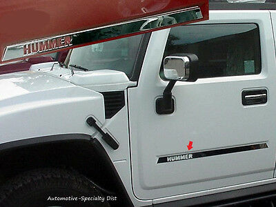 4PC STAINLESS DOOR INSERT TRIM w/HUMMER LOGO CUT OUT FITS 2003-2009 HUMMER H2