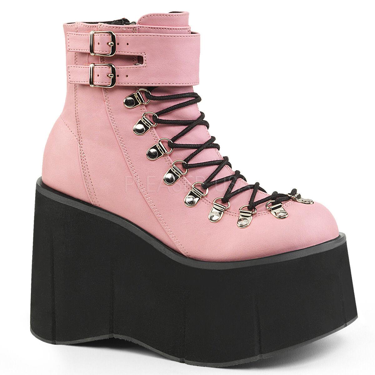 DEMONIA Gothic Punk Gogo Dancer Raver 4 1 2  Platform Rosa Ankle High Stiefel