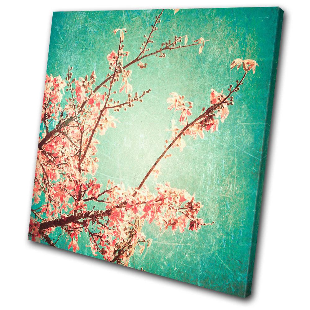 Floral Vintage Cherry Blossoms  SINGLE Leinwand Wand Kunst Bild drucken