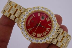 Red Face Rolex Day Date President 23 Carats Diamond Iced