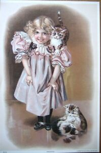 art-print-THE-KITTENS-Victorian-happy-Little-Girl-with-cats-vtg-repro-9-5x14-5