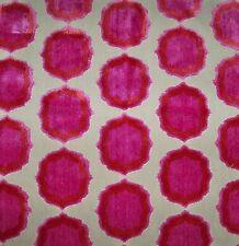MANUEL CANOVAS TIANA CUT VELVET MEDALLIONS FABRIC 10 YARDS ROSE PINK ORANGE