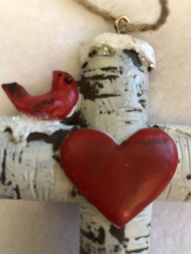 Birch Cross Christmas Ornament Resin Cardinal Heart Red Holiday Tree Gift Decor