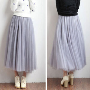 Women-Tulle-Mesh-Full-Skirt-Elastic-High-Waist-3-Layers-Pleated-Long-Beach-Dress