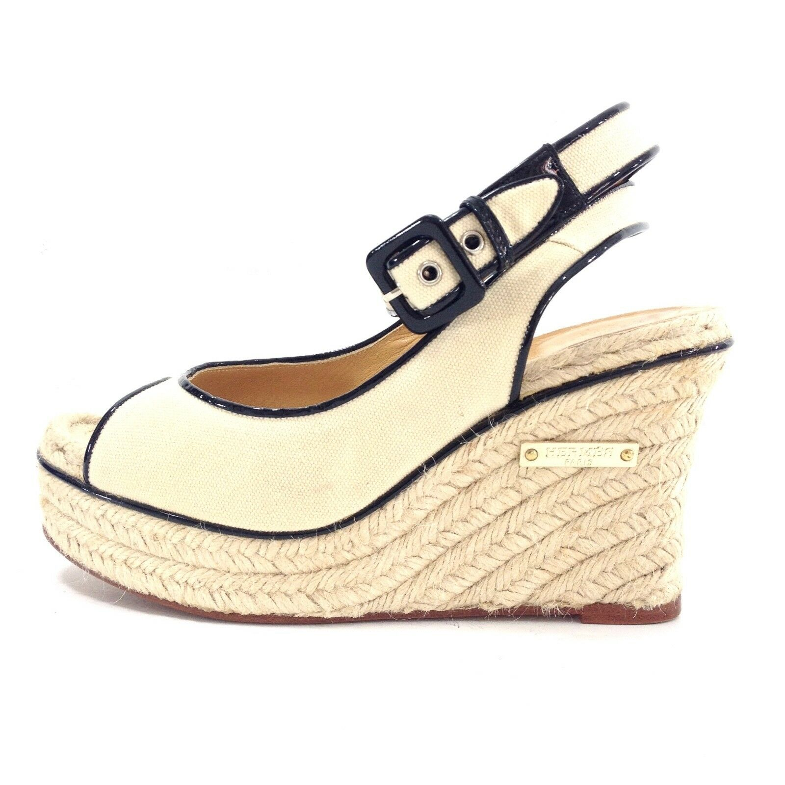 Hermes Ivory Canvas and black leather trim wedges w logo 38   7