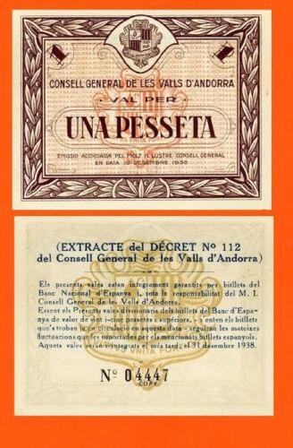 Andorra 1 peseta 1936 UNC Reproduction
