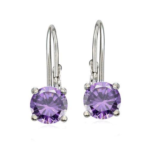 925 Sterling Silver 2.00 ct Purple Amethyst Round 6mm CZ Leverback Earrings Stud