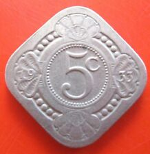 NETHERLANDS 1933 5 CENT COIN~KONINGRIJK DER NEDERLANDEN~VG