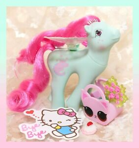 ❤️My Little Pony MLP G1 Vtg FLUTTER PONY PINK DREAMS Slumber Party Kitten Cat❤️