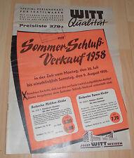 dachbodenfund alter mode katalog / prospekt preisliste josef witt weiden kg 1958