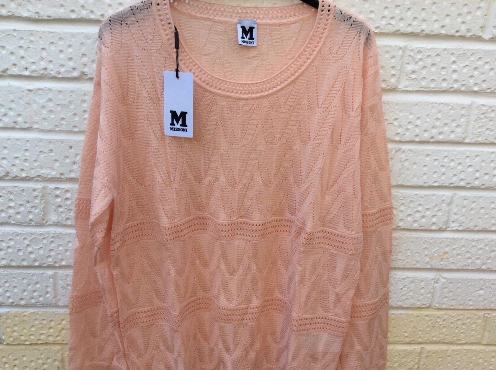 MISSONI Open Knit Wool Jumper XL 16EUR Peach Pink NEW