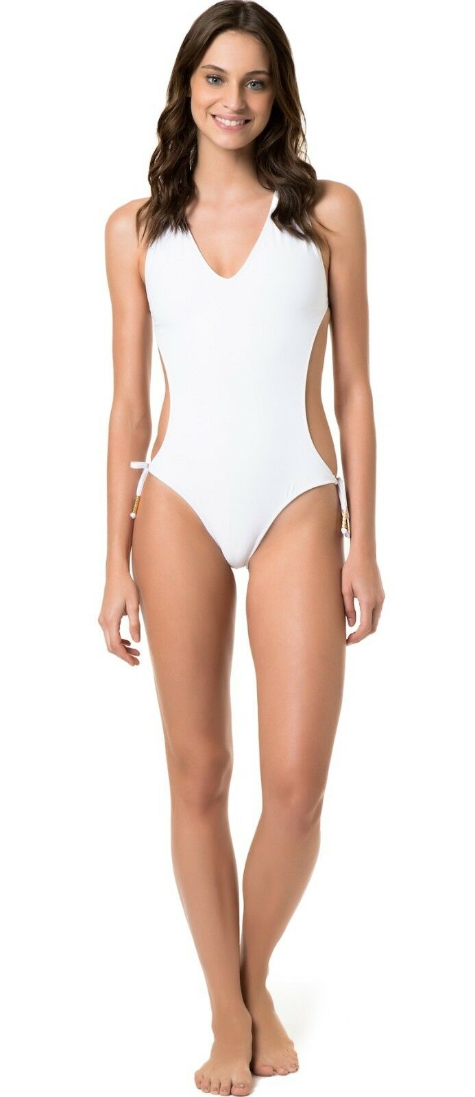 Salinas Frente Unica Monokini Cut -Out in Solid White