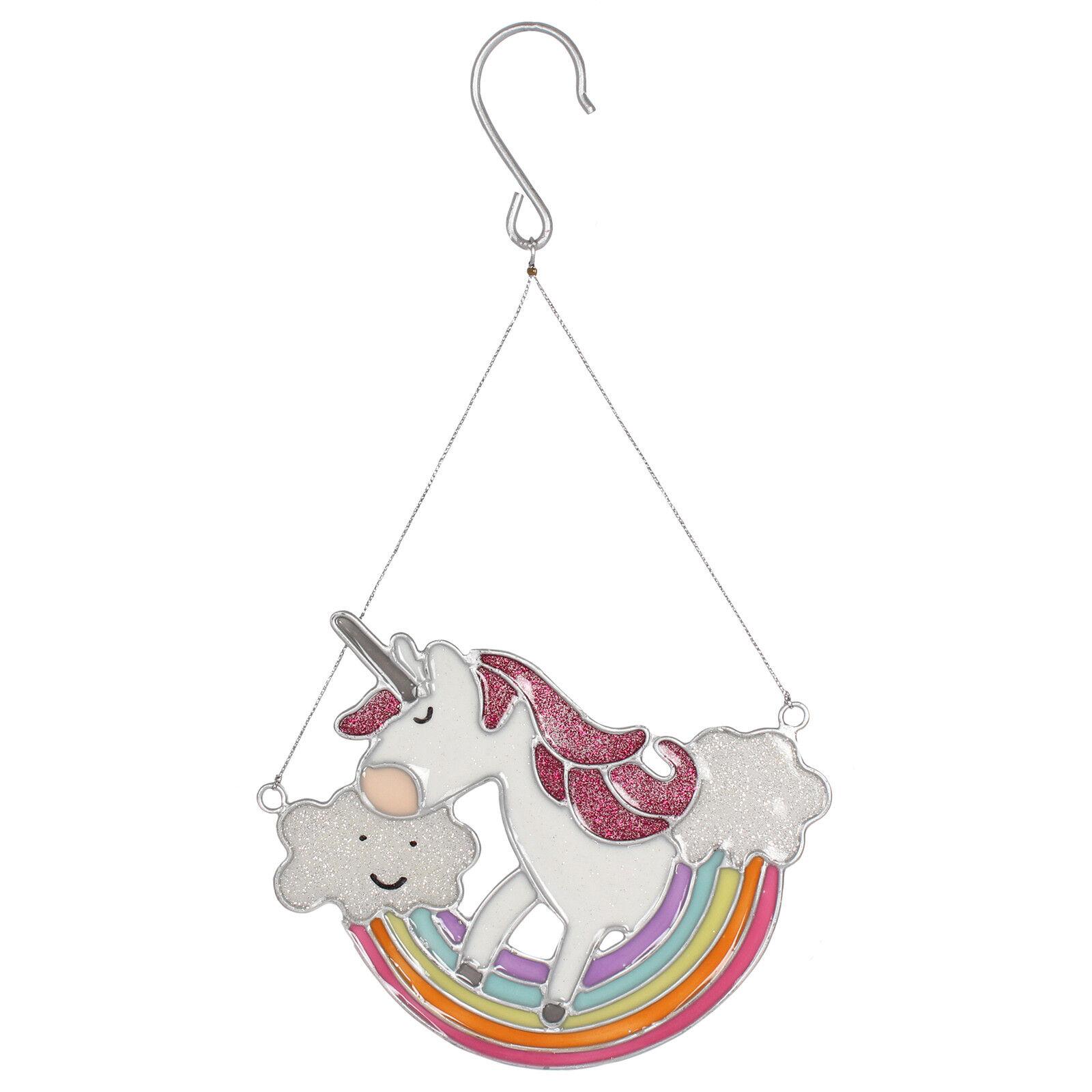 Magical Rainbow Unicorn Glitter Sun Catcher Home Garden Hanging Mobile Decor