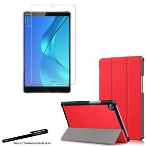 Coque Smart Rouge Premium pour Huawei MediaPad M5 8.4 + Vitre de protection