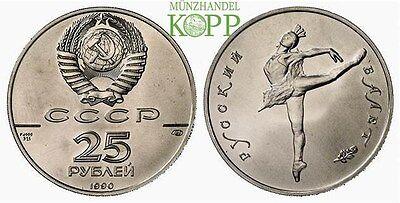 RüCksichtsvoll R889) Russland 25 Rubel 1990 - Russisches Ballett - Ballerina - Palladium Neueste Technik