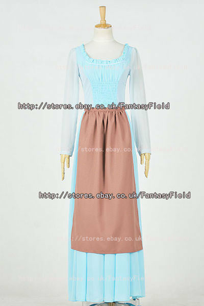 Cinderella 2015 Movie Ella Princess Cinderella Cosplay Costume Maid Dress New