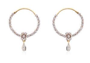 Pave-0-61-Cts-Runde-Brilliant-Cut-Natuerliche-Diamanten-Creolen-In-750-18K-Gold
