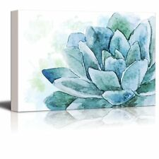 Single Flower Painted with Watercolor Shades of Blue - Canvas Art- 16x24 inches