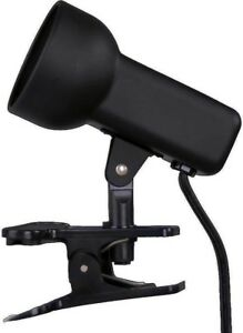 2-1/2 in. Black Clip-On Lamp Portable Light Headboard Laundry Kitchen Shed Tool
